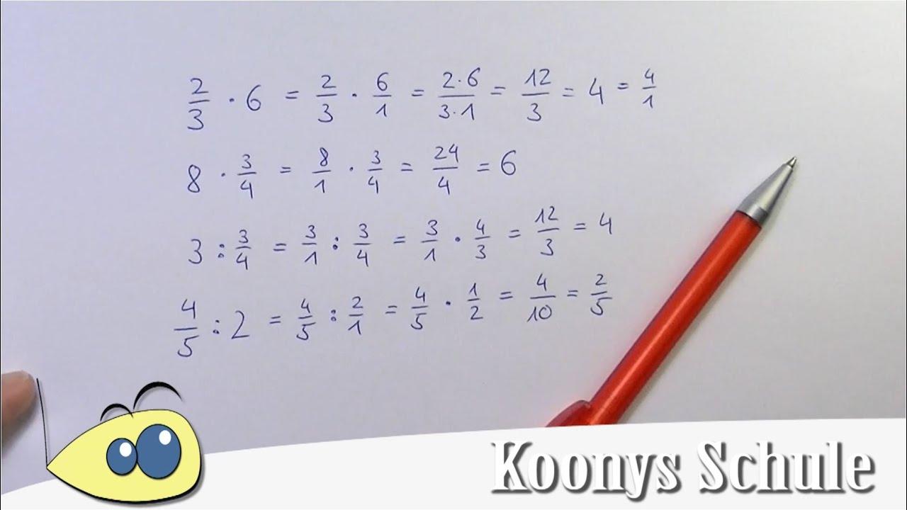 Brüche mit ganzen Zahlen multiplizieren oder dividieren | gezeigt ...