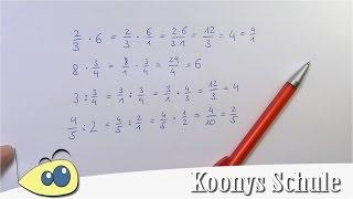 Brüche mit ganzen Zahlen multiplizieren oder dividieren | gezeigt und erklärt thumbnail