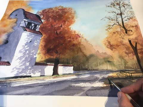 Watercolor painting - Autumn in Sweden