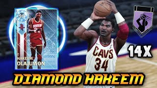 NBA 2K18 DIAMOND 98 OVERALL HAKEEM OLAJUWON GAMEPLAY! *14 HOF BADGES* | NBA 2K18 MyTEAM GAMEPLAY