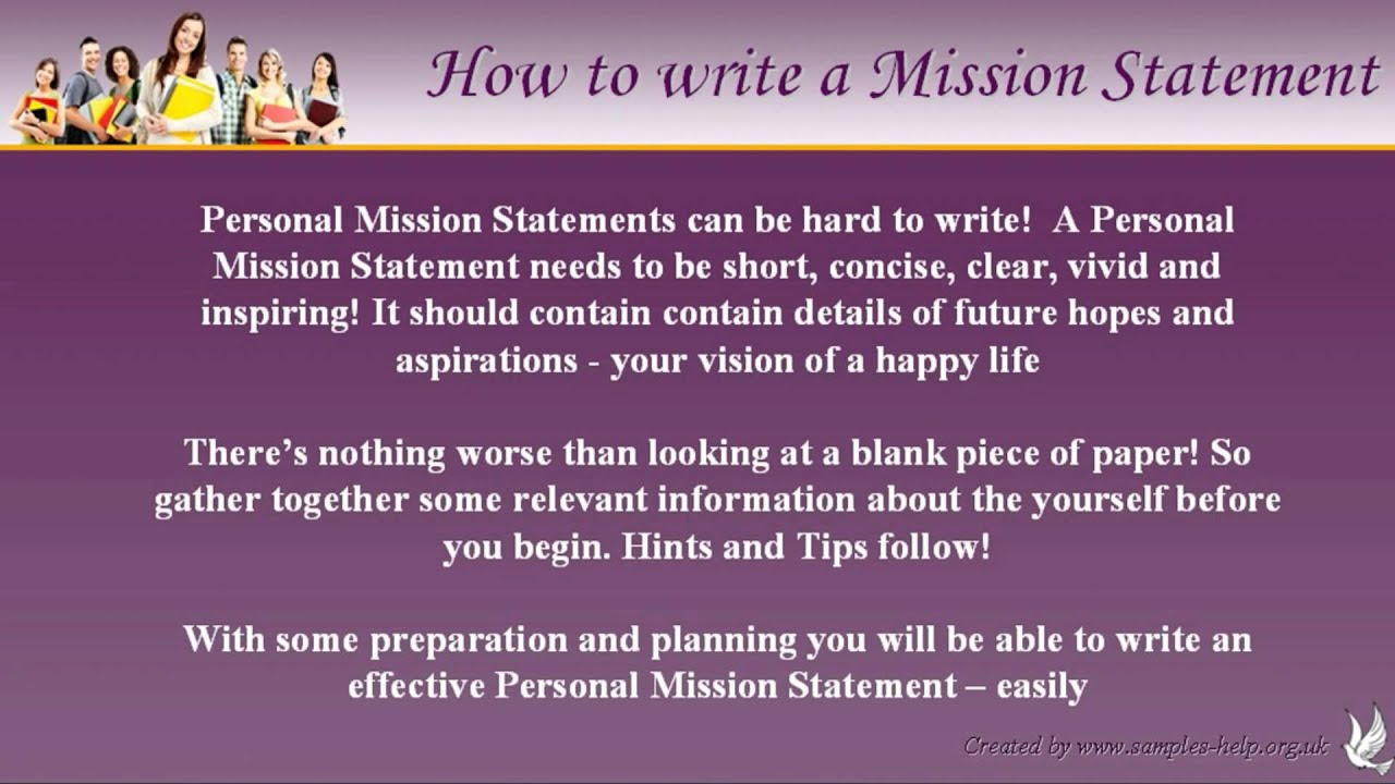 Mission Statement Examples Brochure How To Write Personal Mission Statements YouTube