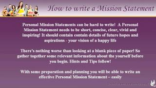 How to write Personal Mission Statements
