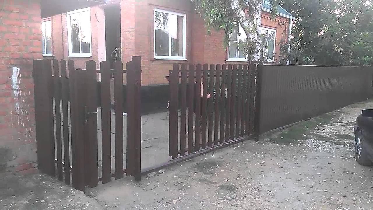 откатные ворота штакетник - YouTube