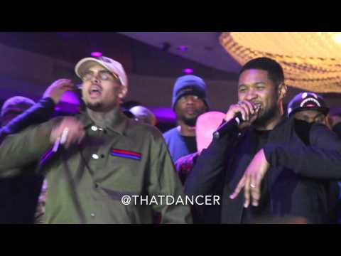"Chris Brown & Usher Perform ""New Flame"" in Miami"
