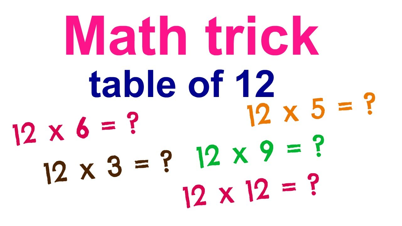 Math Trick To Learn Table Of 12