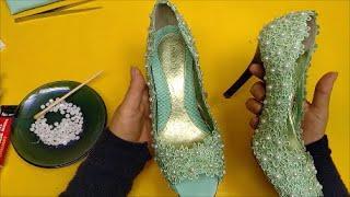 Como Cortar o Bico do Sapato Scarpin e fazer Aplicação com Renda e Pérola