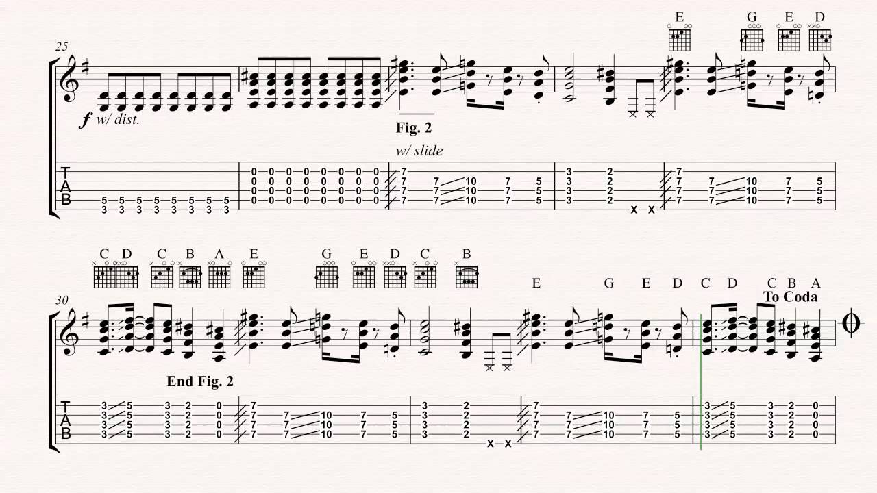 Guitar Seven Nation Army The White Stripes Sheet Music Chords Vocals Youtube