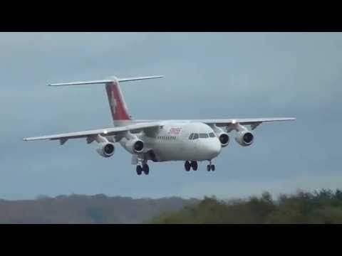 Swiss Air BAe 146-300 Landing during a storm at Luxembourg Airport