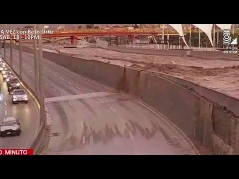 Río Rímac invade Vía de Evitamiento y restringen paso de autos