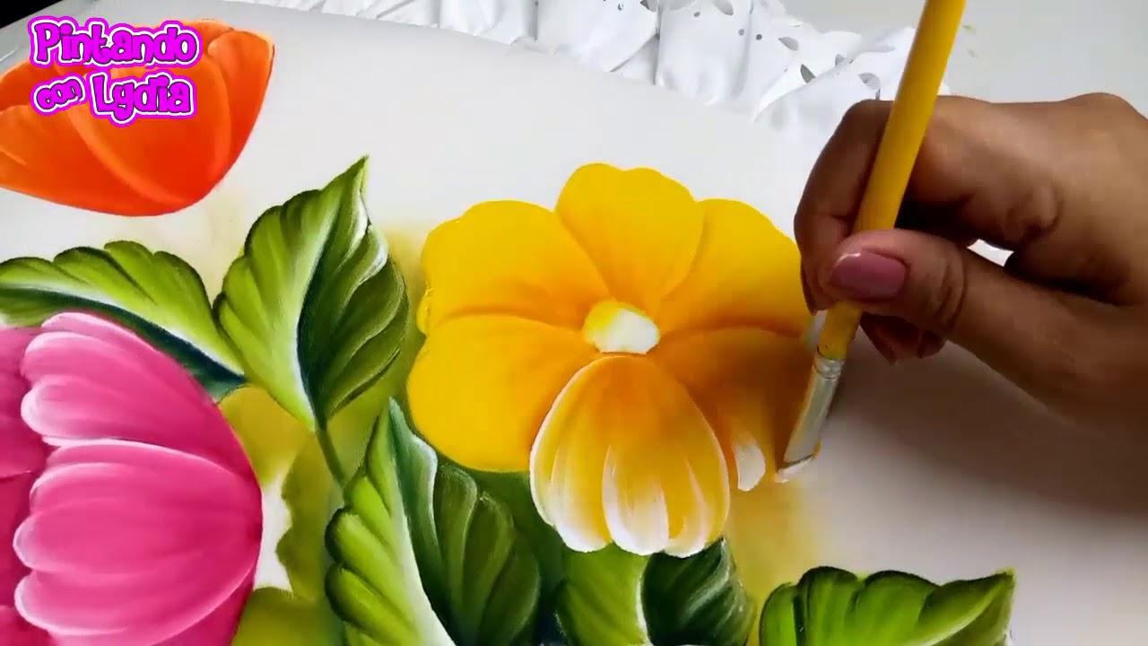 Pintura En Tela Como Pintar Flores De Colores