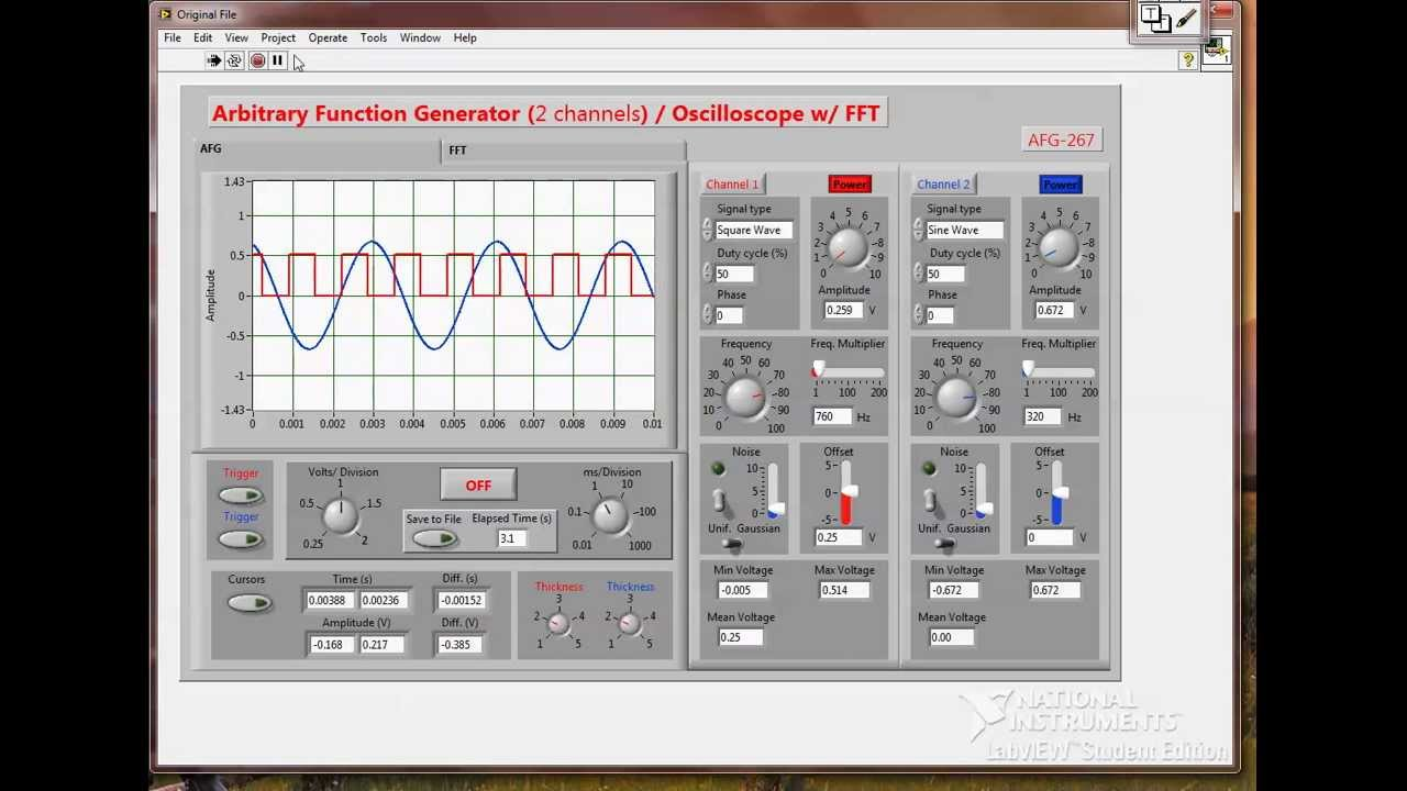 Engr 267 Labview Function Generator And Oscilloscope Youtube
