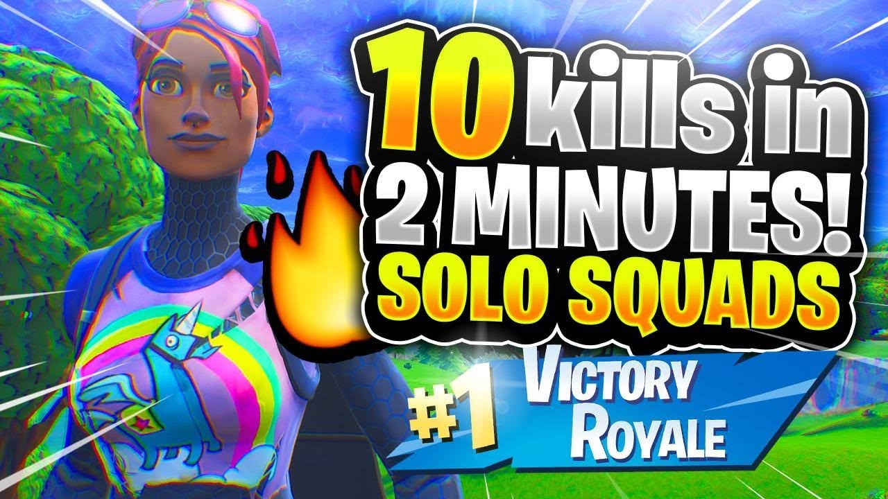 10 KILLS IN 2 MINUTES! INSANE SOLO SQUADS! (Fortnite Battle Royale)
