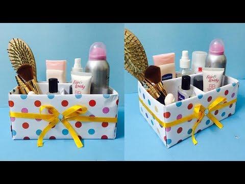 DIY Makeup Organizer Box | Cardboard Cosmetic Box Making at Home