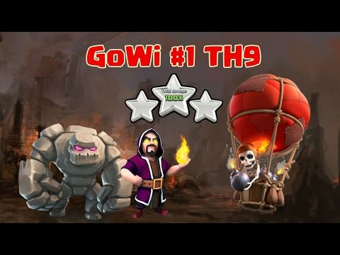 GoWi #1: Attack TH9 Strategy with Golem Wizard Balloon 3 Star Clan War