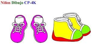Zapatos para colorear libro | Cómo dibujar zapatos para niñas | Niños dibujando CP 4K