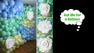 Large Organic Balloon Wall With Roses