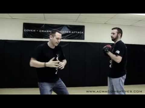 A.C.W.A. Combatives -  Push & Hook Punch Defense w/Cover & Hammer