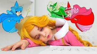 Yulya Pretend Princess Aurora and wants to sleep
