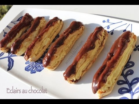 recette eclairs au chocolat et cr me patissi re chocolate eclairs recipe with pastry cream youtube. Black Bedroom Furniture Sets. Home Design Ideas