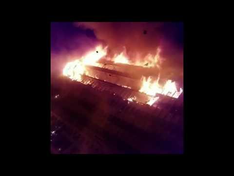 Cameroun première image, incendie de l'Assemblée nationale