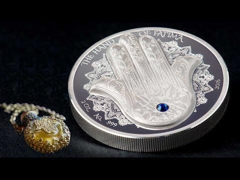 ✋ HAND OF FATIMA ✋ Hamsa Amulet Talisman Khamsa Swarovski 2 Oz Silver Coin 10 Dollars Palau 2016