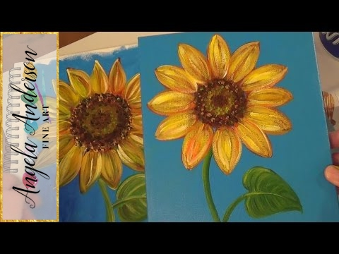 sunflower painting tutorial free easy acrylic painting lesson for beginners how to paint flowers - Free Painting Pictures