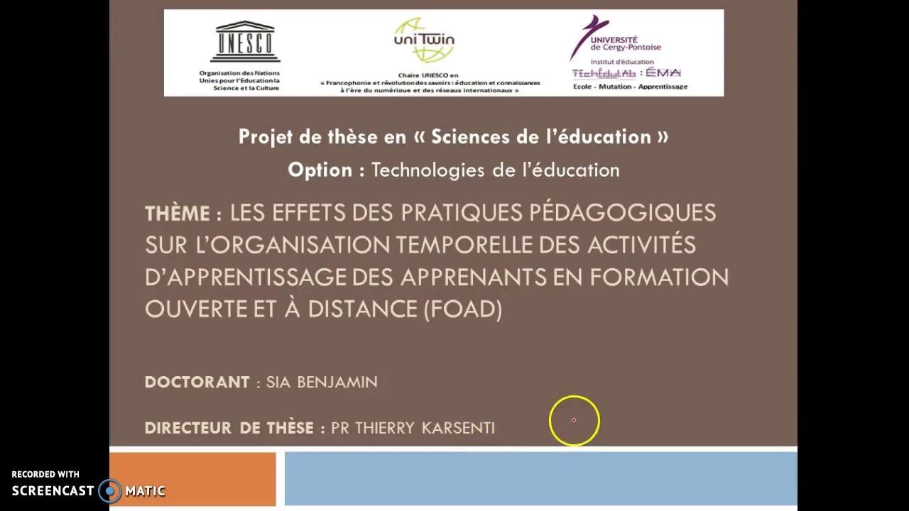 Presentation De L Etat D Avancement Des Travaux De Recherche Youtube