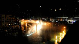 Dubai Burj Khalifa fountain. Fire & water show