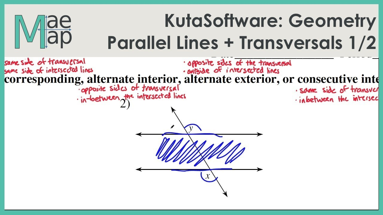Kutasoftware Geometry Parallel Lines And Transversals Part 1 Youtube