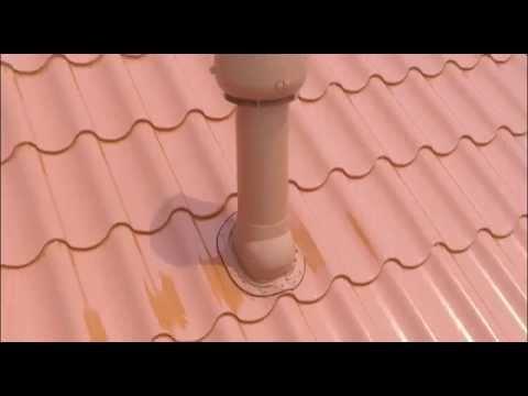 Установка вентиляционной трубы с вентилятором VILPE на металлочерепицу