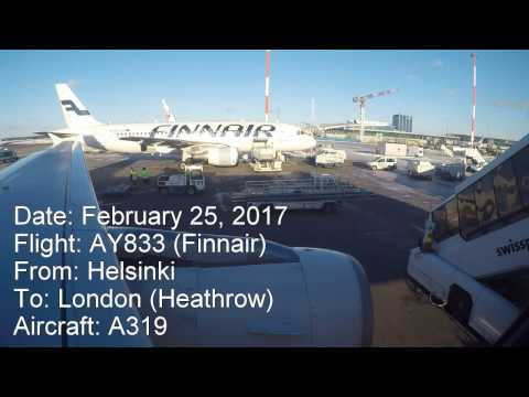 Full flight video, Helsinki (Vantaa) to London (Heathrow), AY833, A319, Finnair