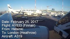 Full flight video, Helsinki (Vantaa) to London (Heathrow), AY833, A319, Finnair