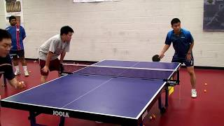 Learning side swipe serve return with Chen Weixing.