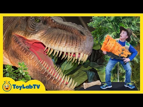 Download Youtube: Giant T-Rex Life Size Dinosaur Chases Park Rangers with Nerf Toys at Jurassic Dinosaurs Event