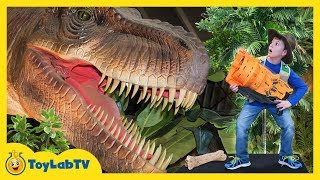 Giant T-Rex Life Size Dinosaur Chases Park Rangers with Nerf Toys at Jurassic Dinosaurs Event Mp3