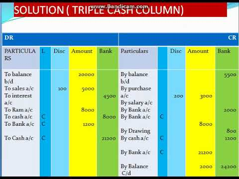 TRIPLE CASH COLUMN Accounting
