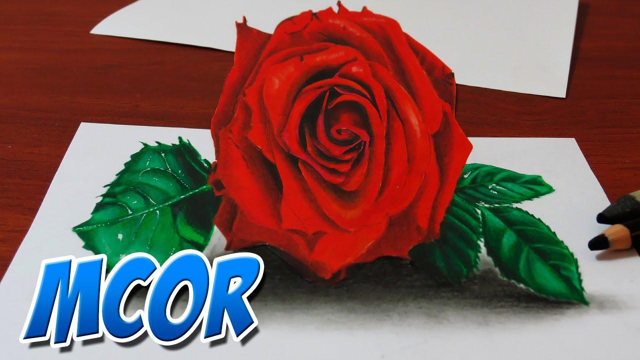 Como Dibujar Una Rosa Con Efecto 3d Youtube