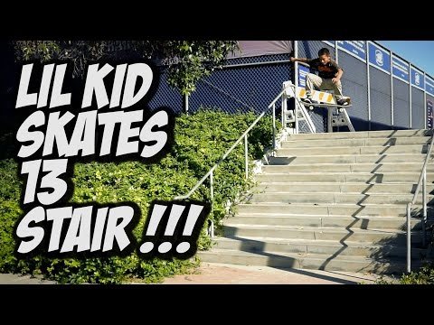 LIL KID SKATES 13 STAIR PLUS MUCH MORE !!! VLOG - A DAY WITH NKA -