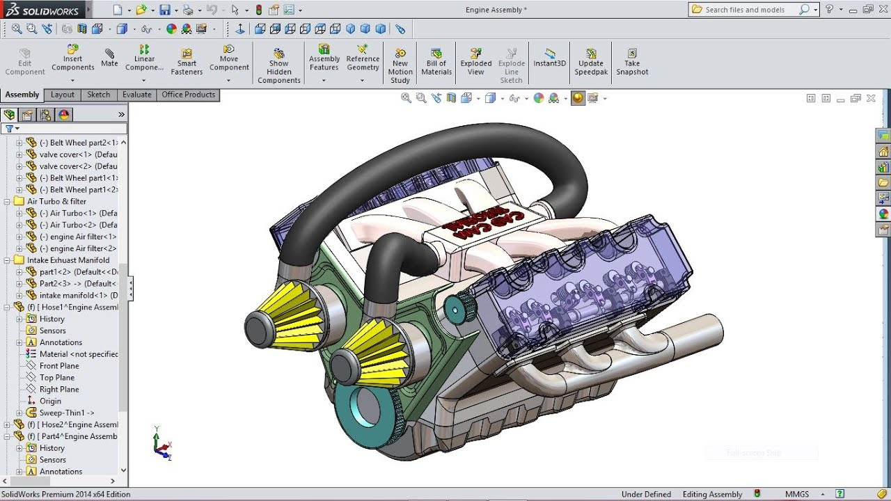 Solidworks tutorial car engine advanced assembly youtube for Design table not working solidworks