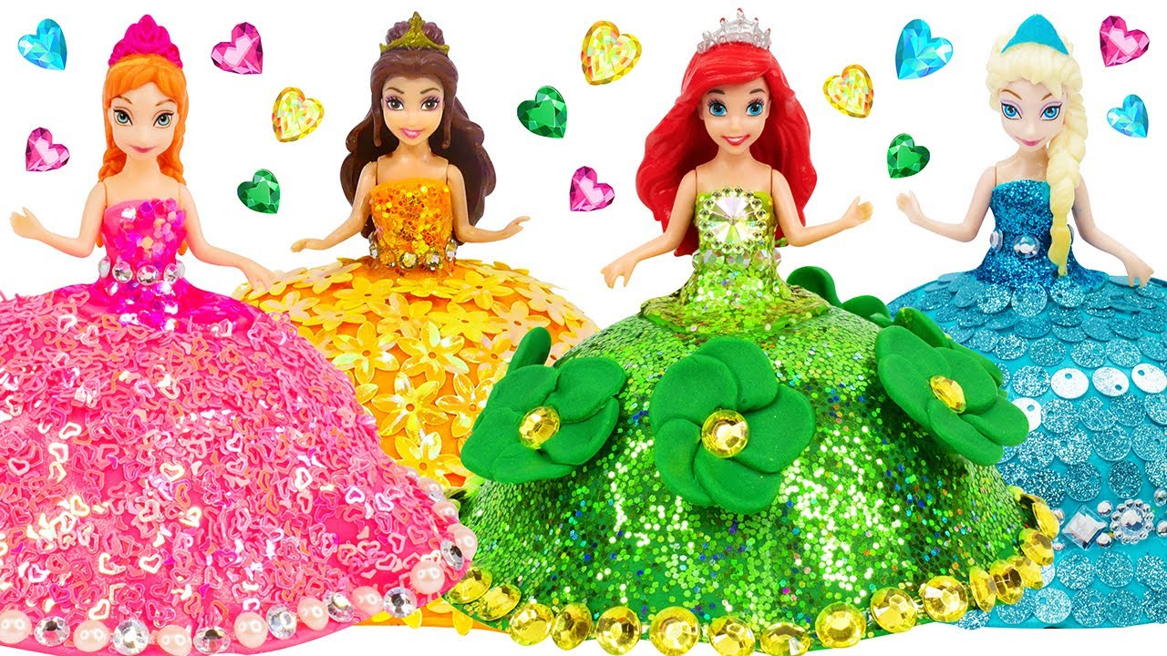 4 Mini Dolls Dress Up ~ Making Different Dresses out of Clay / DIYs & Crafts