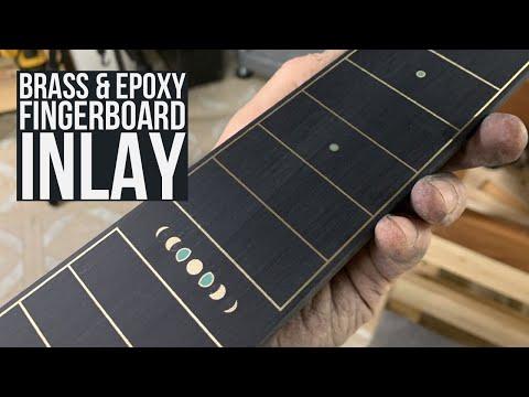 Brass and Epoxy Fingerboard Inlay - Making Trevor's Weissenborn 18