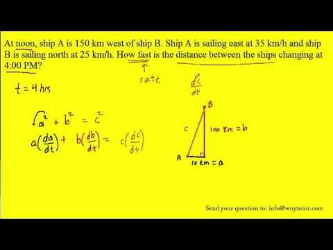 At noon, ship A is 150 km west of ship B. Ship A is sailing east at 35 km/h and ship B is sailing no