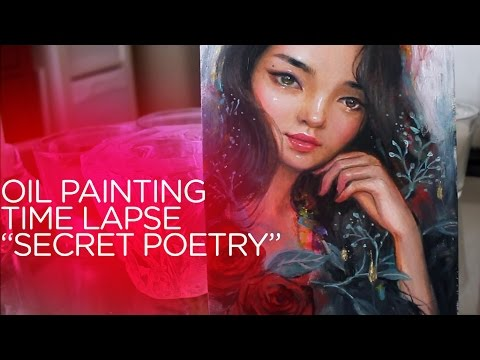 "OIL PAINTING TIME LAPSE || Portrait with Red Roses ""Secret Poetry"""