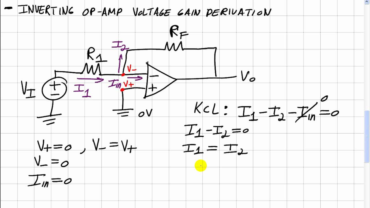 Op Amps 2 Inverting Amp Voltage Gain Derivation Youtube Non Amplifier Circuit
