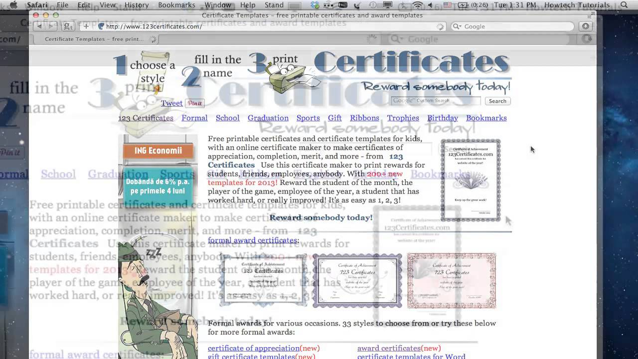 how to create printable award certificates online youtube