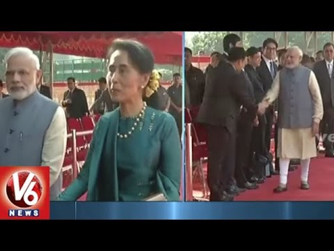 Aung San Suu Kyi Receives Ceremonial Welcome At Rashtrapati Bhavan | New Delhi | V6News
