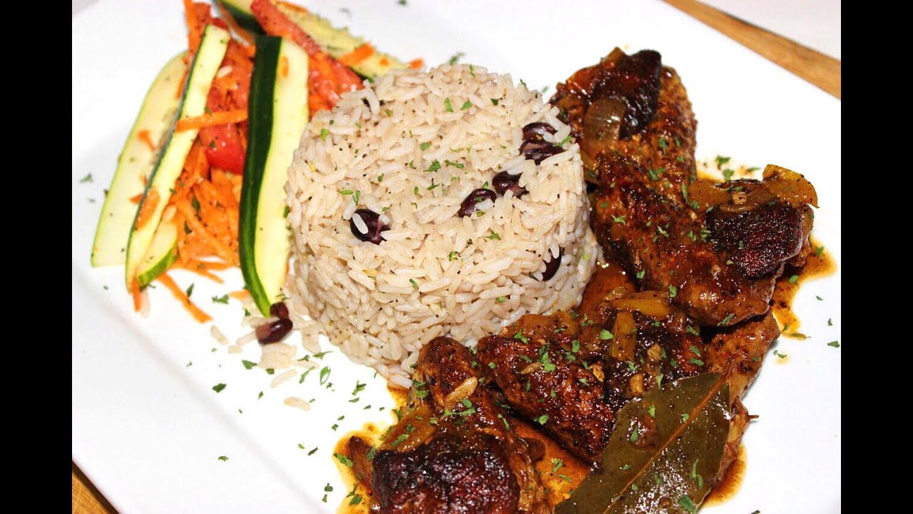 Caribbean Brown Stew Chicken With Rice & Peas Recipe