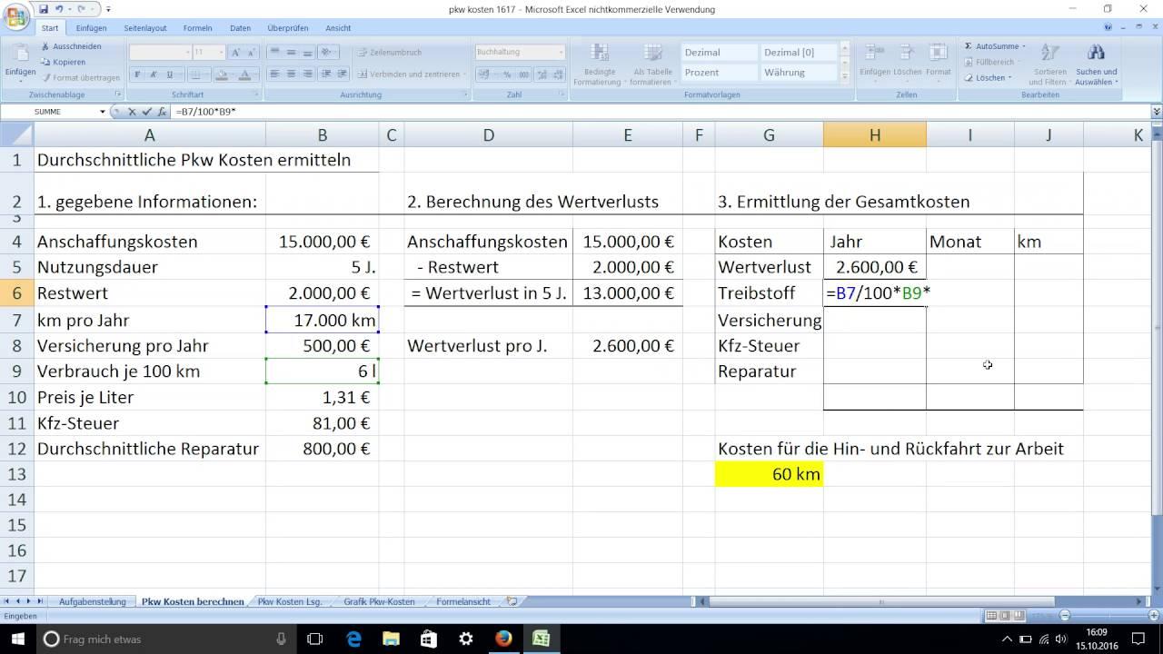 durchschnittliche pkw kosten pro jahr monat und je km