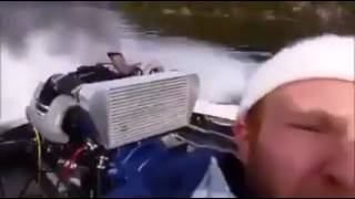 High Power Boat Car Engine on Lake