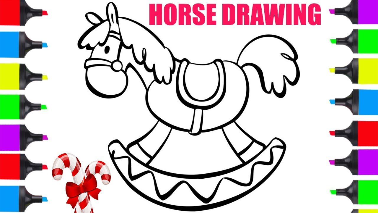 How To Draw Rocking Horse Toy For Kids Easy | Tutorial ...